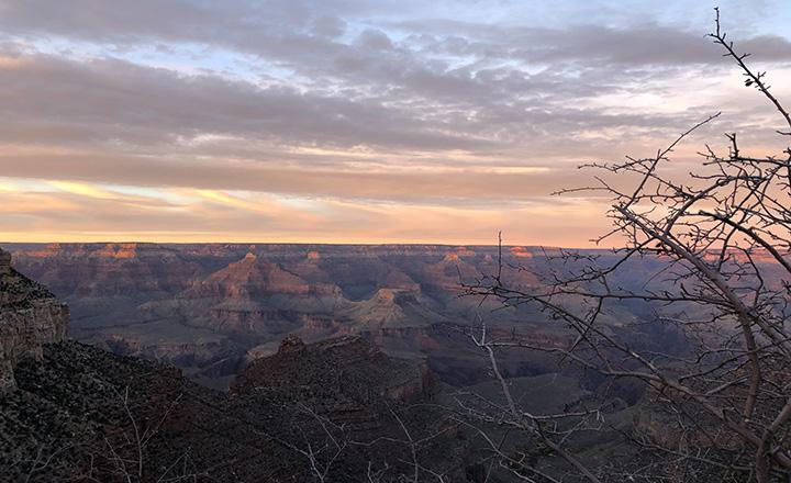 grand canyon south rim at sundown