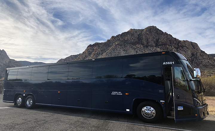 large blue luxury tour bus for the Grand Canyon West Rim walking tour