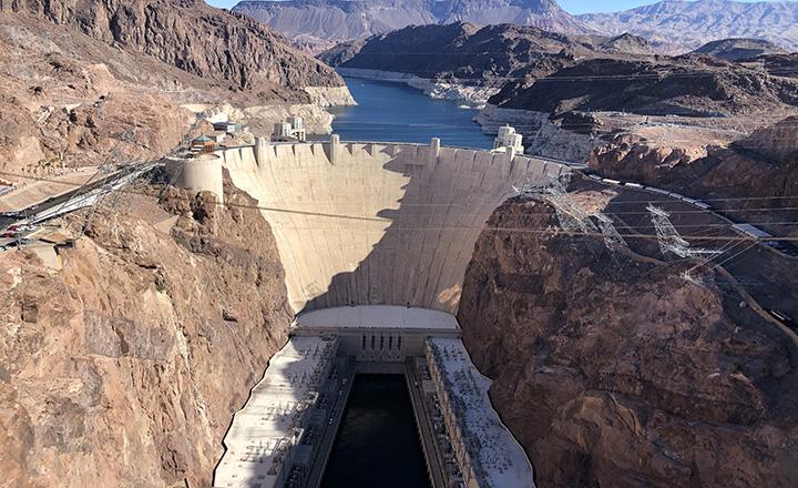 hoover dam view from memorial bridge