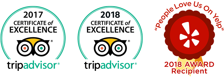 "TripAdvisor 2017 and 2018 Certificates of Excellence; ""People Love Us On Yelp"" 2018 Award"