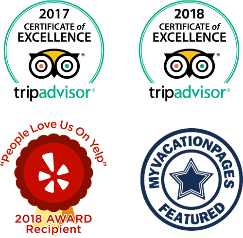 "TripAdvisor 2017 and 2018 Certificates of Excellence; ""People Love Us On Yelp"" 2018 Award; MyVacationPages Featured Badge"