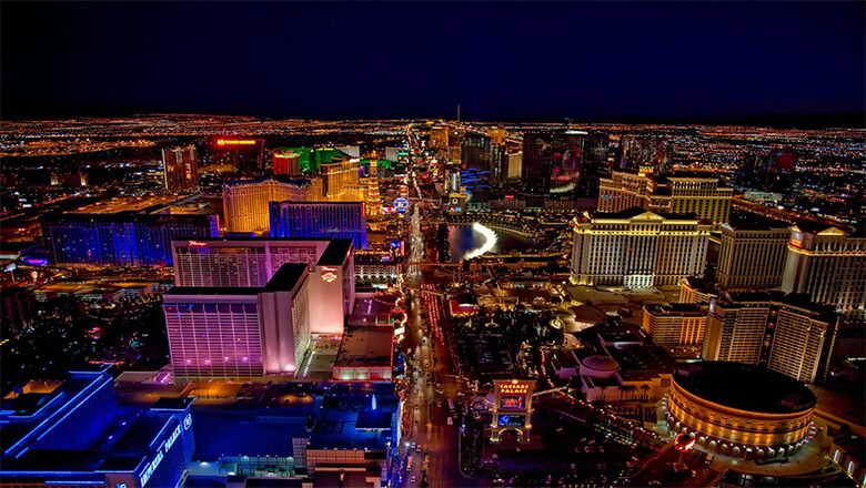 Aerial view of the Las Vegas Skyline at night