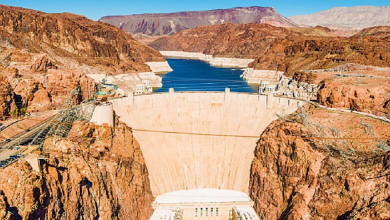 View of the Hoover Dam from the middle of the Mike O'Callaghan- Pat Tillman Memorial Bridge