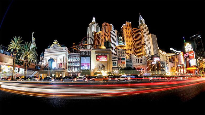 Las Vegas strip at night with a view of New York New York Hotel