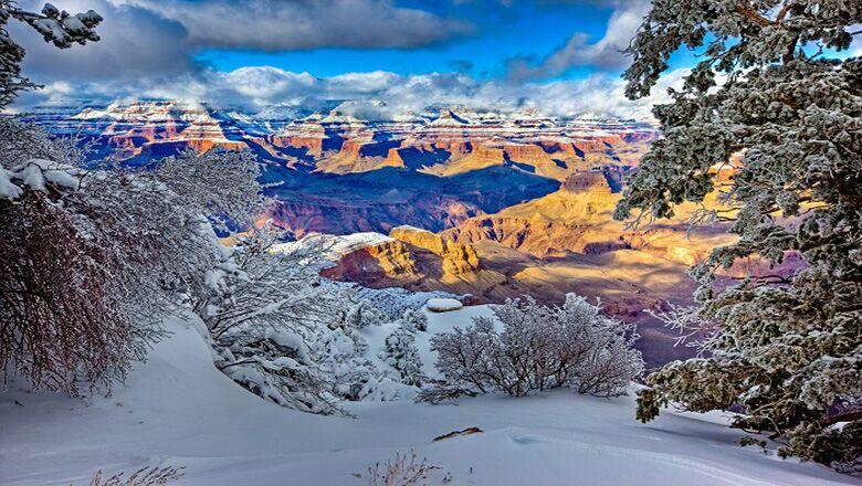 Grand Canyon South Rim during winter with snow covering the ground