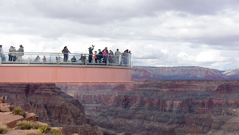 Glass Skywalk Bridge at the Grand Canyon West Rim on an overcast day