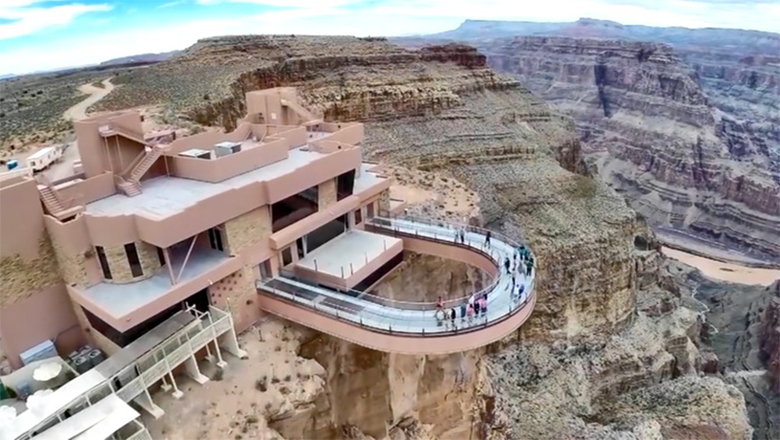 Aerial view of the Skywalk bridge at the Grand Canyon West Rim.