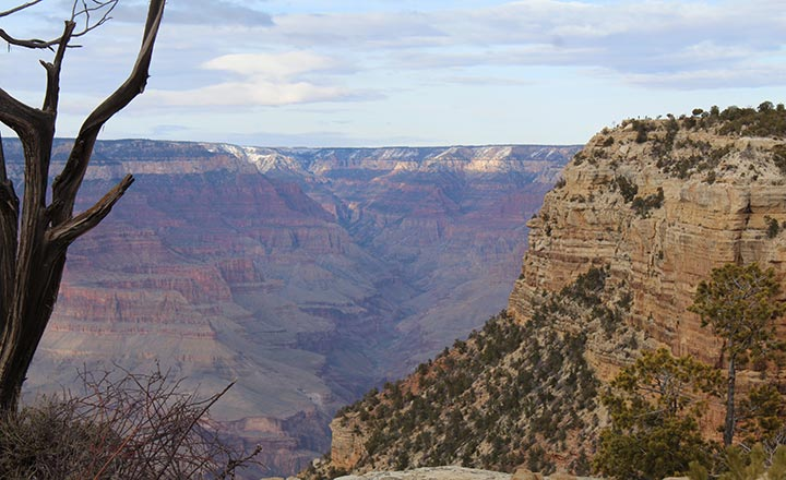 A view into the Grand Canyon from the South Rim.