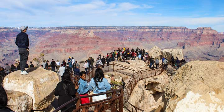 A group of Early Bird visitors admiring the Grand Canyon's South Rim
