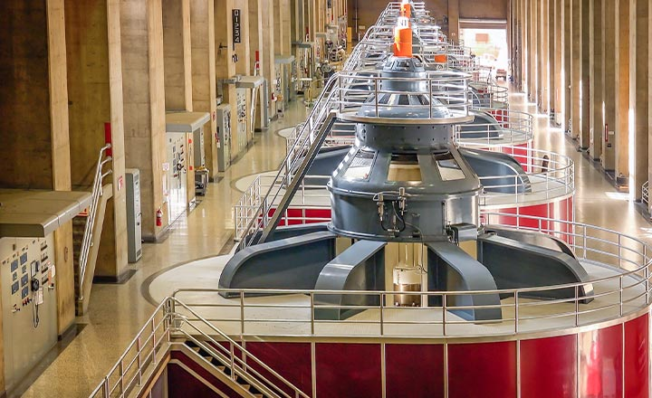 A hall of turbines inside Hoover Dam
